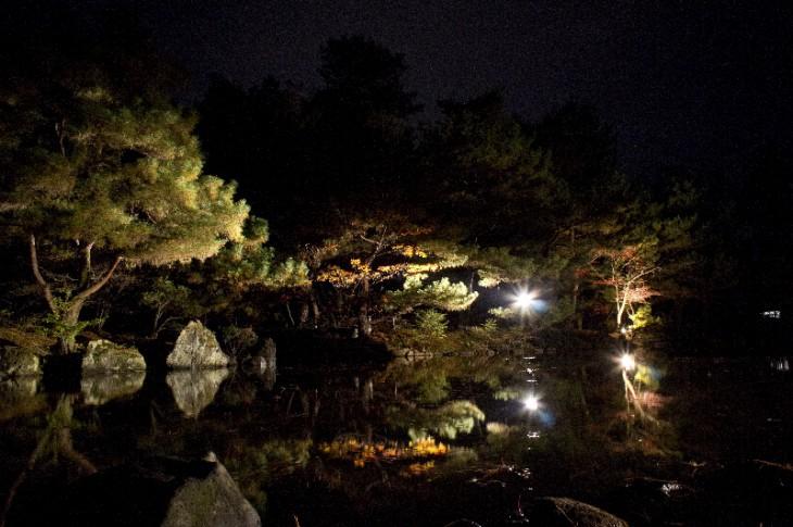 池の中程から見た風景です。ときどき水面(みなも)が静かに揺れると、紅葉も幻想的に揺れます。うっとりですね~。
